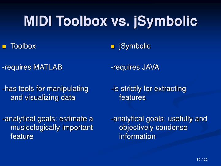 MIDI Toolbox vs. jSymbolic