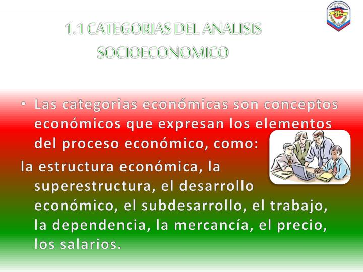 1.1 CATEGORIAS DEL ANALISIS SOCIOECONOMICO