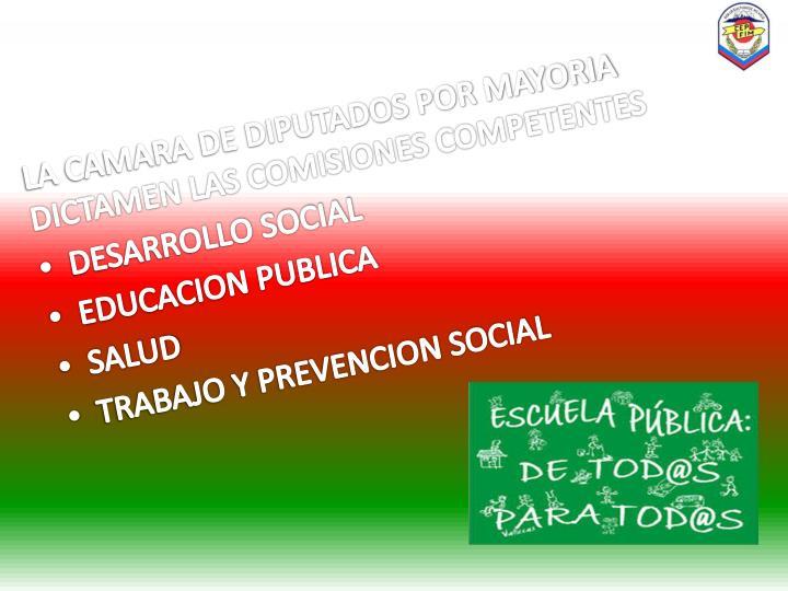 LA CAMARA DE DIPUTADOS POR MAYORIA DICTAMEN LAS COMISIONES COMPETENTES