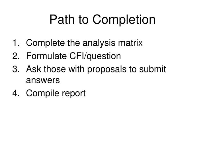 Path to Completion