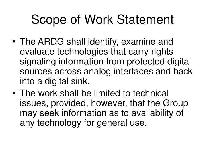 Scope of Work Statement