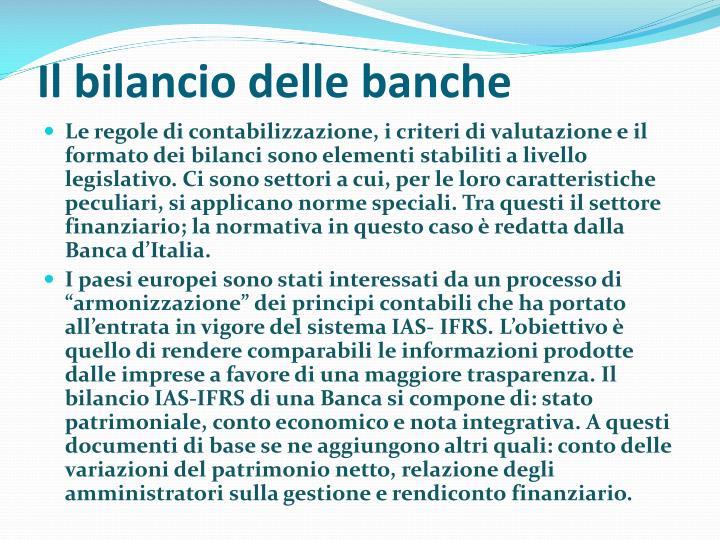 Il bilancio delle banche