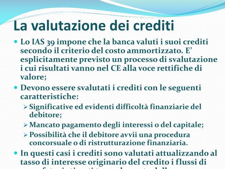 La valutazione dei crediti