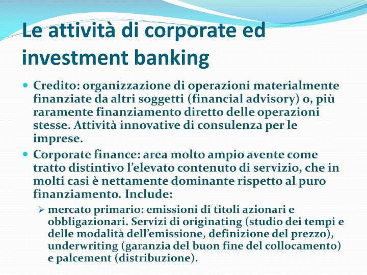 Le attività di corporate ed