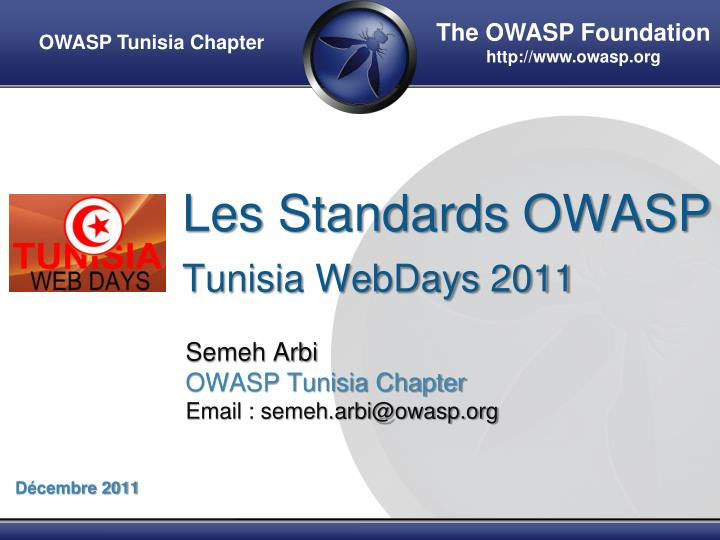 les standards owasp tunisia webdays 2011