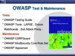 owasp test maintenance