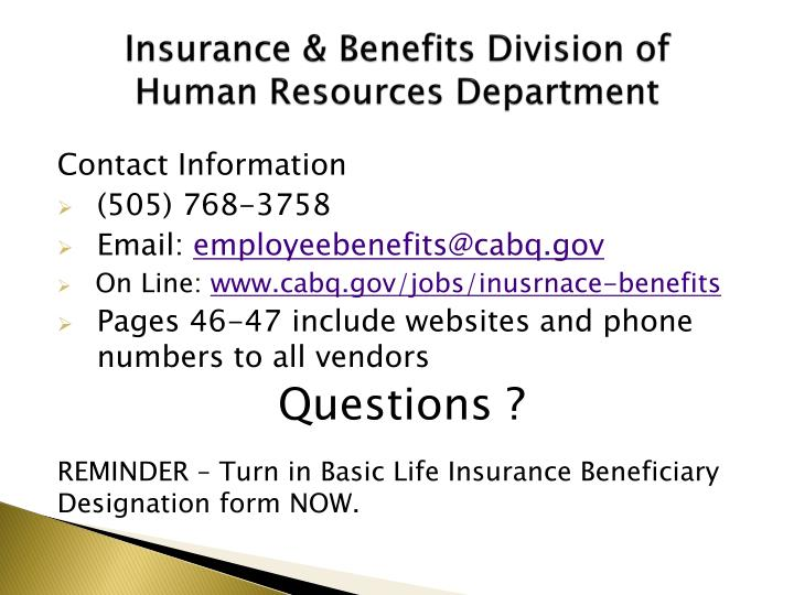 Insurance & Benefits Division of