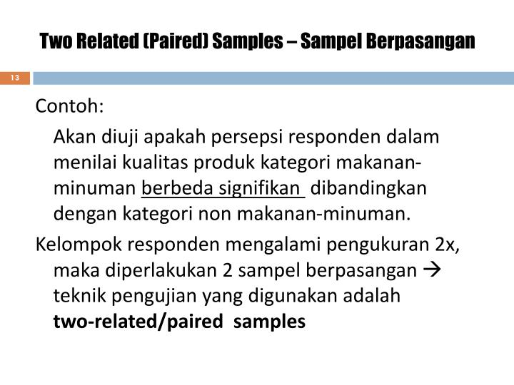 Two Related (Paired) Samples – Sampel Berpasangan