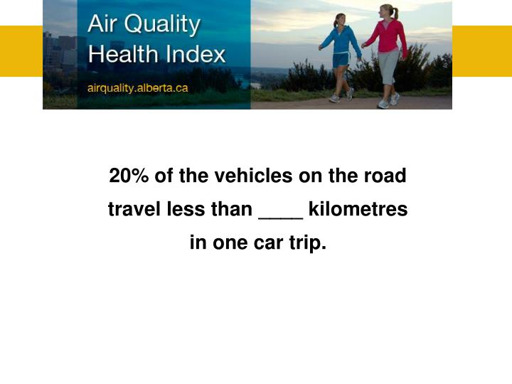20% of the vehicles on the road