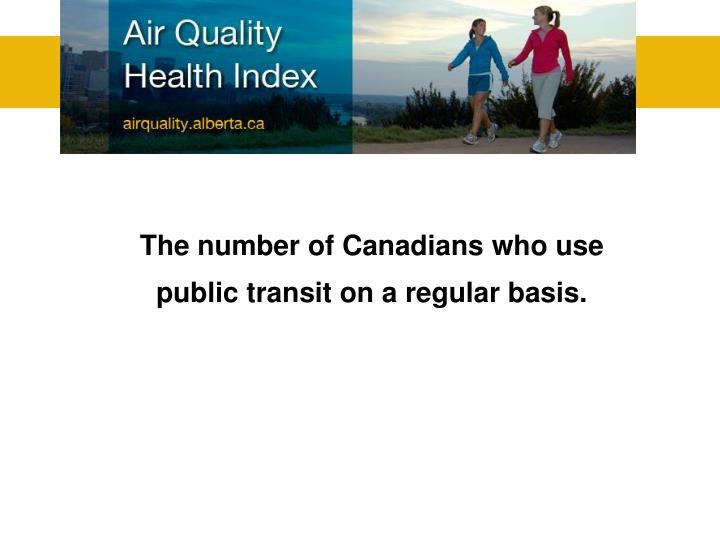 The number of Canadians who use public transit on a regular basis.