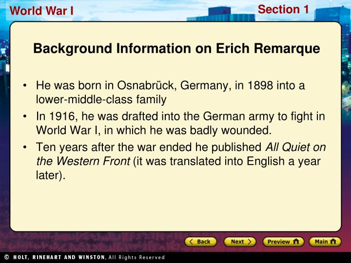 Background Information on Erich Remarque