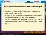 background information on erich remarque