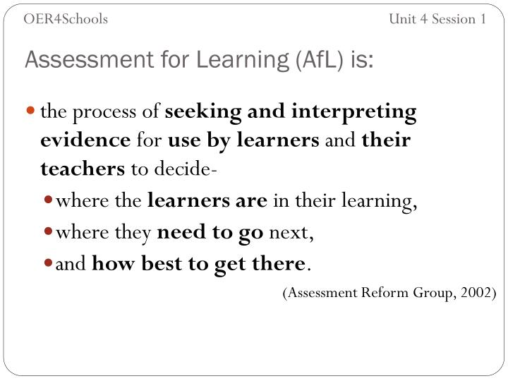 Assessment for learning afl is