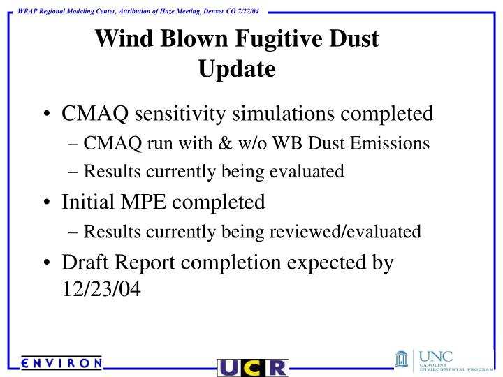 Wind Blown Fugitive Dust Update