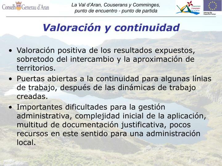 Valoración y continuidad