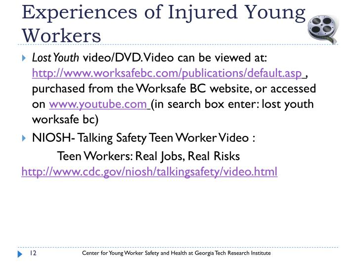 Experiences of Injured Young Workers