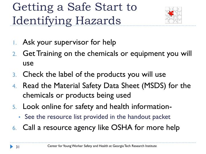 Getting a Safe Start to Identifying Hazards