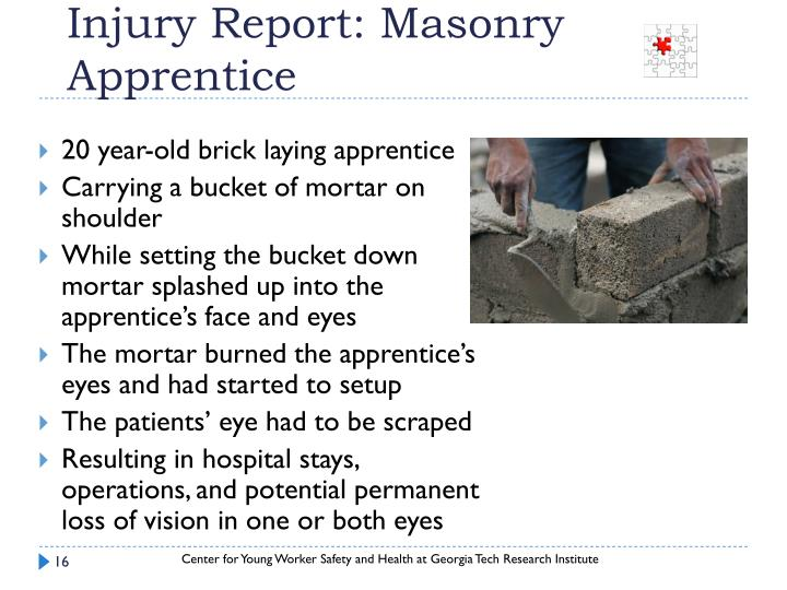 Injury Report: Masonry Apprentice