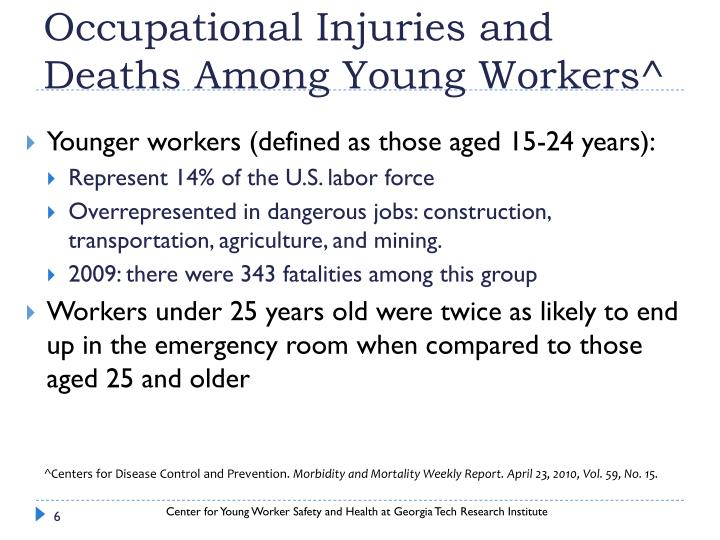 Occupational Injuries and Deaths Among Young Workers^