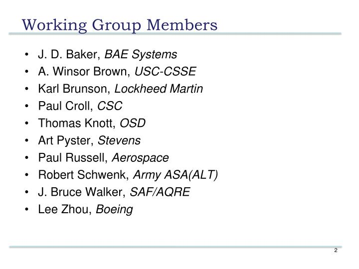 Working group members