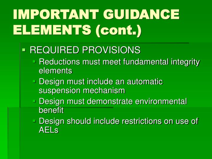 IMPORTANT GUIDANCE ELEMENTS (cont.)