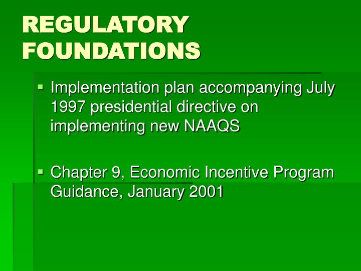 Regulatory foundations