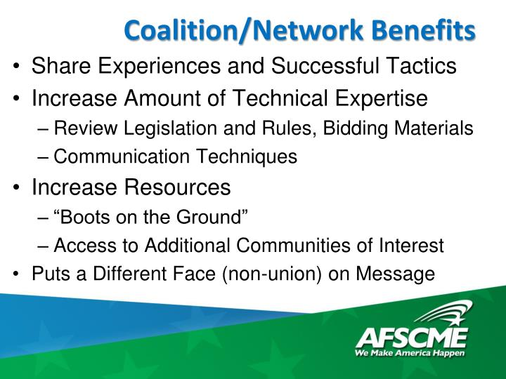 Coalition/Network Benefits