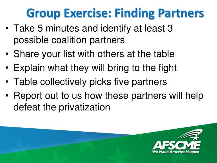 Group Exercise: Finding Partners