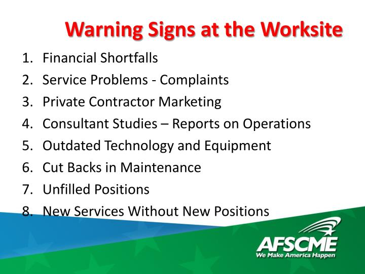 Warning Signs at the Worksite