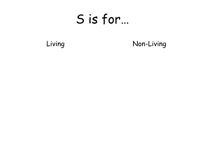 S is for…