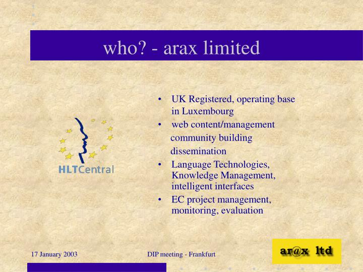 who? - arax limited
