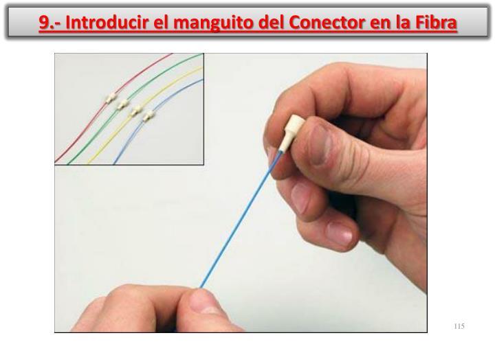 9.- Introducir el manguito del Conector en la Fibra