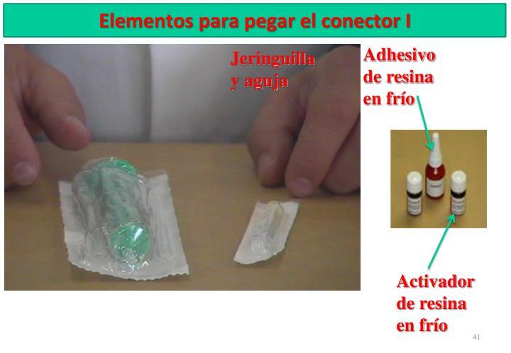 Elementos para pegar el conector I