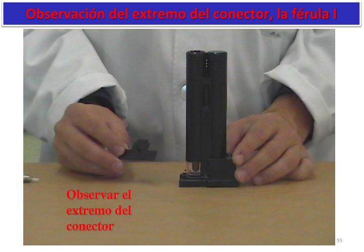 Observación del extremo del conector, la férula I