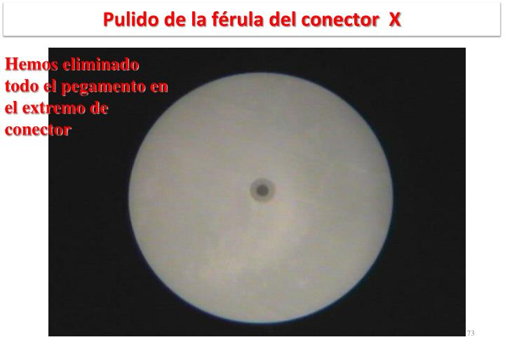 Pulido de la férula del conector  X