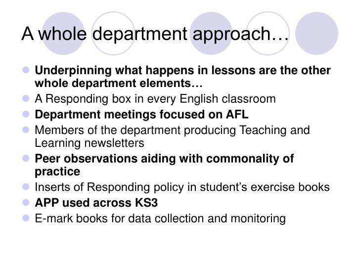 A whole department approach…