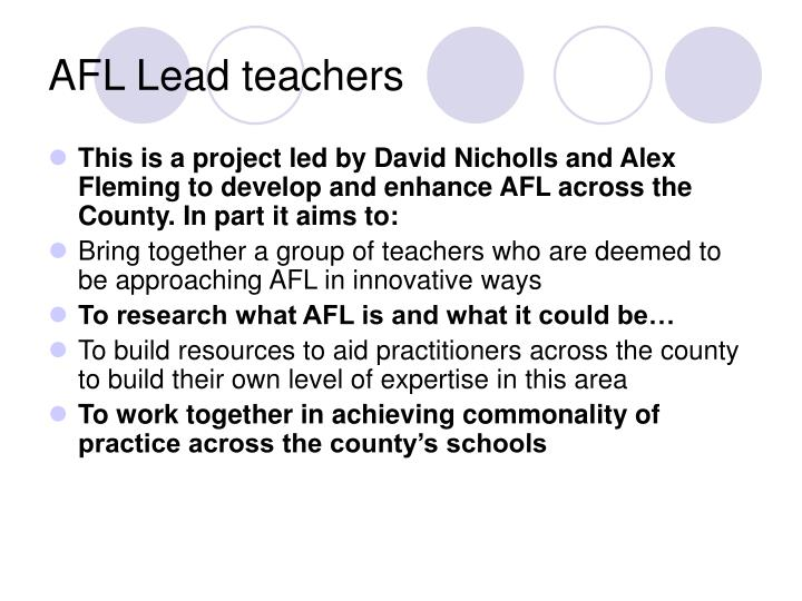 AFL Lead teachers