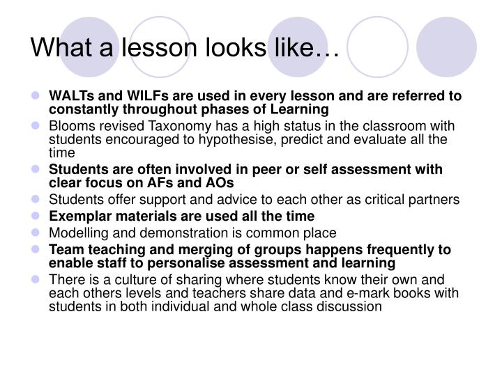 What a lesson looks like…