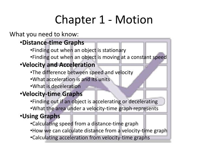 Chapter 1 - Motion