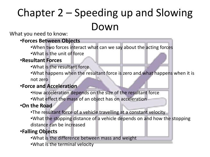Chapter 2 – Speeding up and Slowing Down
