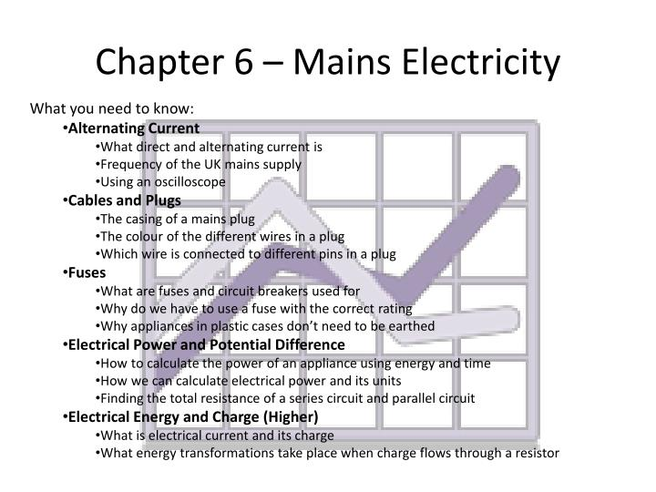 Chapter 6 – Mains Electricity