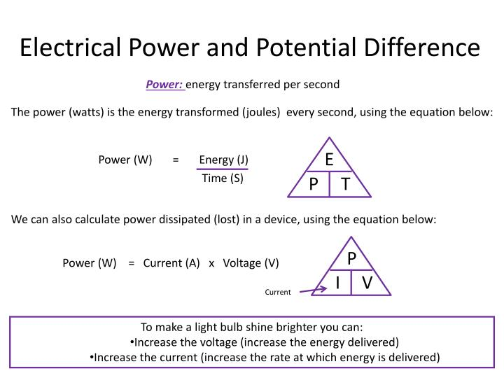 Electrical Power and Potential Difference