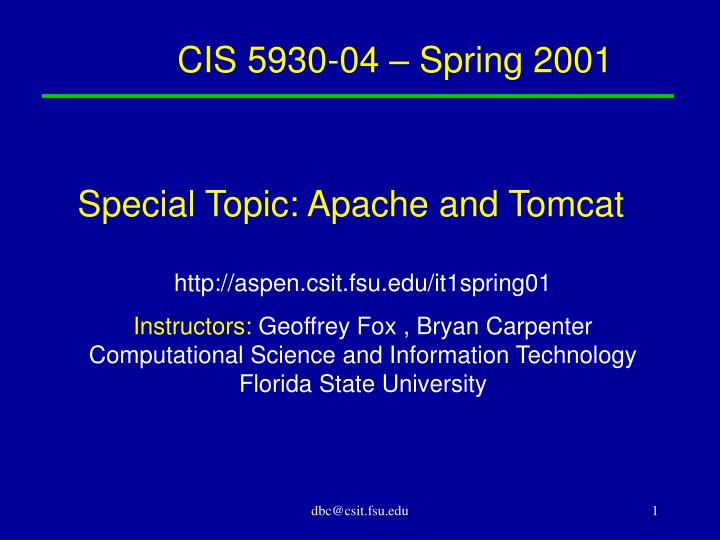 Special Topic: Apache and Tomcat
