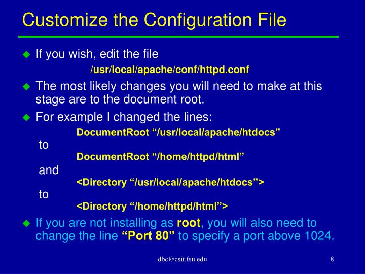 Customize the Configuration File