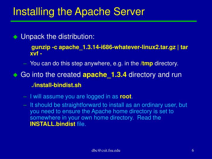 Installing the Apache Server