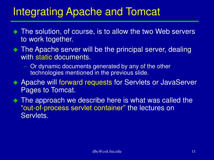 Integrating Apache and Tomcat