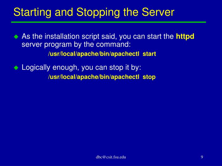 Starting and Stopping the Server