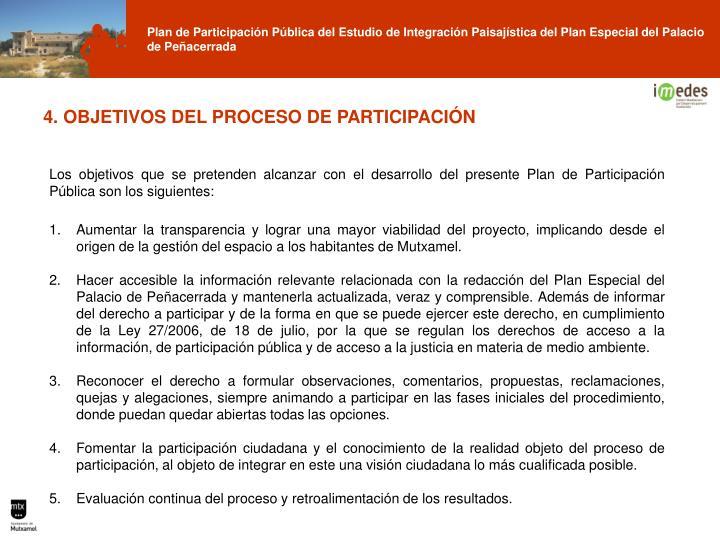 4. OBJETIVOS DEL PROCESO DE PARTICIPACIÓN