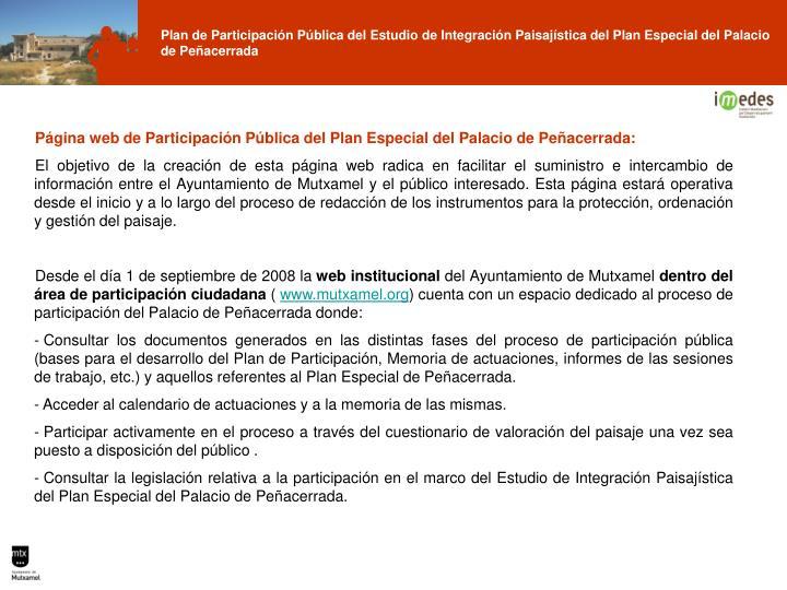 Página web de Participación Pública del Plan Especial del Palacio de Peñacerrada: