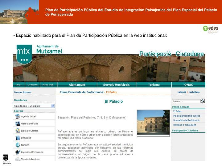 Espacio habilitado para el Plan de Participación Pública en la web institucional: